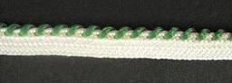 Braid Two-tone; White/Emerald, price per mtr