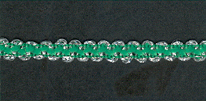 Braid Silver Thick / Emerald per mtr