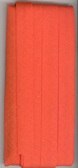 12mm Bias Binding Orange Cotton Folded x 6m