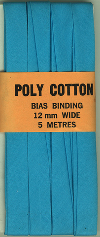 12mm PCotton Bias Binding Aqua Folded x 5m