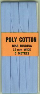 12mm PCotton Bias Binding Pale Blue Folded x 5m