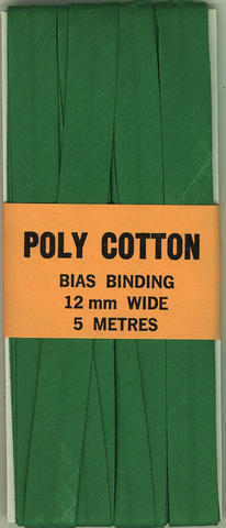 12mm PCotton Bias Binding Aussi Green Folded x 5m
