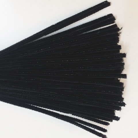 Chenille Sticks 6mm; Black