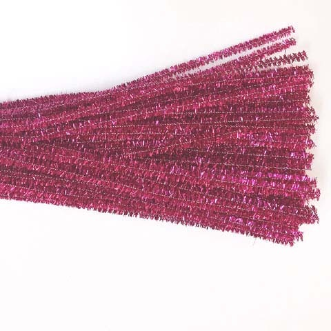 Glitter/Chenille Stem/Pipe Cleaner/6mm Fuschia
