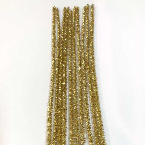 Glitter/Chenille Stem/Pipe Cleaner/6mm Gold