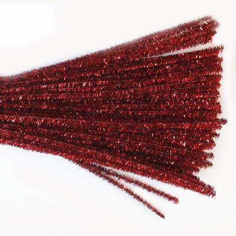 Glitter/Chenille Stem/Pipe Cleaner/6mm Red