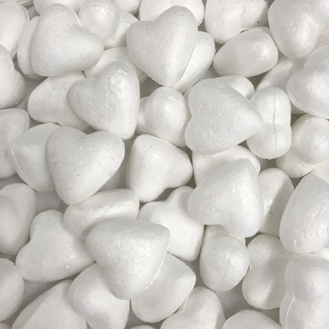 35mm White Polystyrene Foam Heart