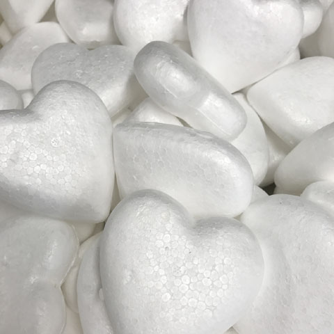 90mm White Polystyrene Foam Heart