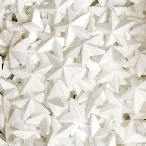 75mm White Polystyrene Foam Star
