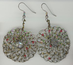 Earrings Crochet in Green Beading Wire with Glass Beads