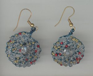 Earrings Crochet in Blue Beading Wire with Glass Beads