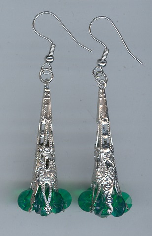 Xmas Earings 1 pair Silver/Green