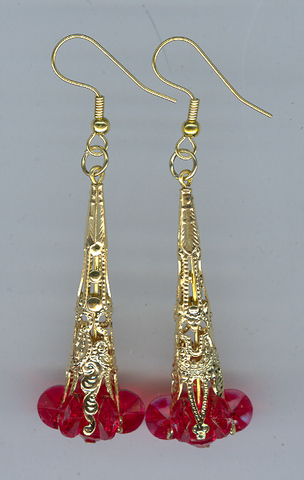 Xmas Earings 1 pair Gold/Red