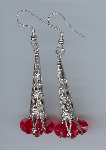 Xmas Earings 1 pair Silver/Red