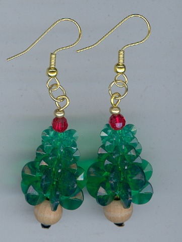 Xmas Tree Earings 1 pair Gold/Green