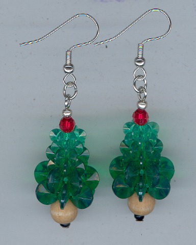 Xmas Tree Earings 1 pair Silver/Green