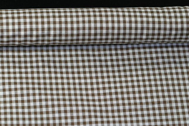 Gingham Poly/cotton 112cm Brown 1 metre per piece, 2mm square.