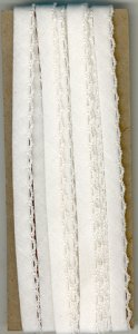 6mm Fancy Bias Binding White Cotton Folded x 3m