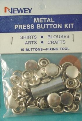10mm Metal Press Button Nickle Kit with Tool (pkt15)