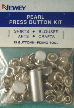 10mm Metal Press Button Pearl Kit with Tool (pkt15)