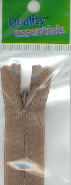 Zip Fastener 20cm, Tan Nylon Invisible
