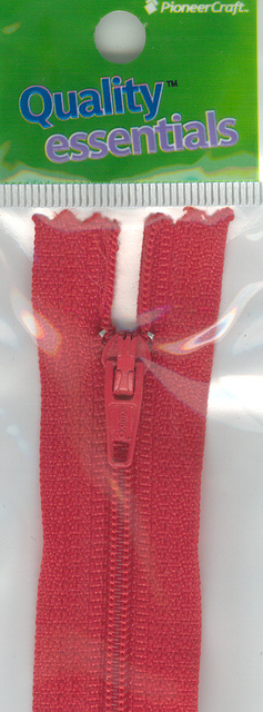 Zip Fastener 20cm, Red No3 Closed End