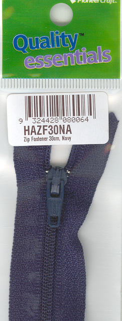 Zip Fastener 30cm, Navy No3 Closed End