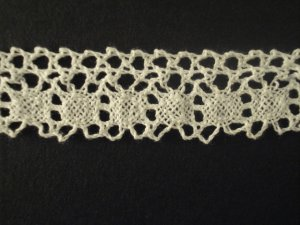 Lace Elastic 3cm 100% Cotton Fancy White price per mt