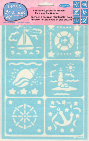 DecoArt Easy Cling Ultra Frost Stencil Nautical