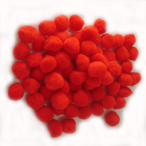 Pom Poms / Chenille Poms/ 25mm Red - Click Image to Close