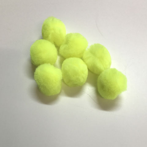 Pom Poms / Chenille Poms/ 25mm Neon Yellow