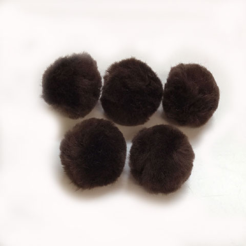 Pom Poms / Chenille Poms/ 38mm Brown