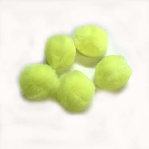 Pom Poms / Chenille Poms/ 38mm Neon Yellow