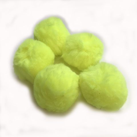 Pom Poms / Chenille Poms/ 50mm Neon Yellow