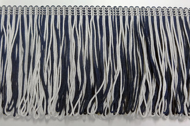 100mm Loop Fringe Navy Blue and White