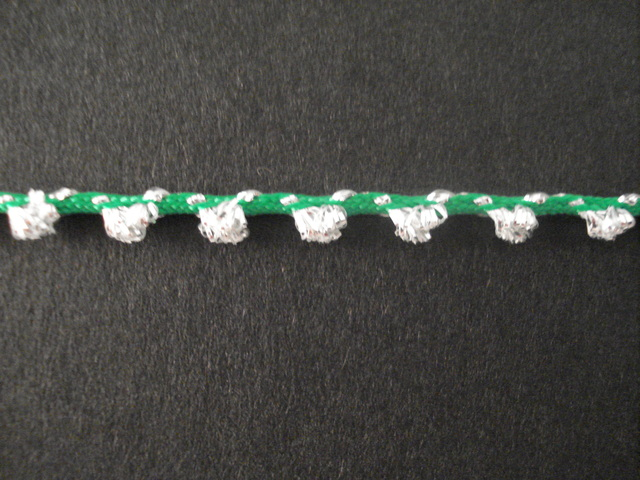Glitter Braid per mtr; Silver/Emerald; price per mt