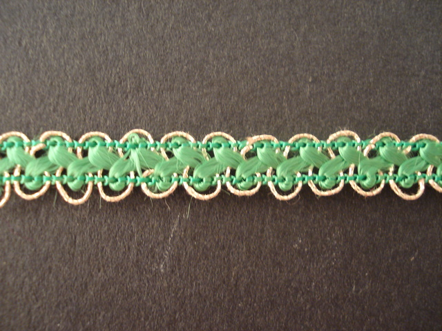 Braid Gold / Emerald; price per mtr