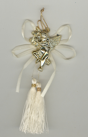 Gold Cherub Assorted Embellishment with Ribbon & Tassels 5p