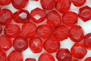6mm Czech Fire Polished Facet Beads Red 10g
