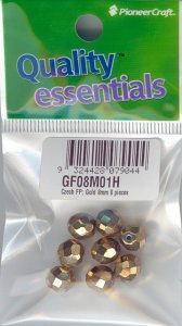 8mm Czech Fire Polished Facet Beads Gold 8 pieces