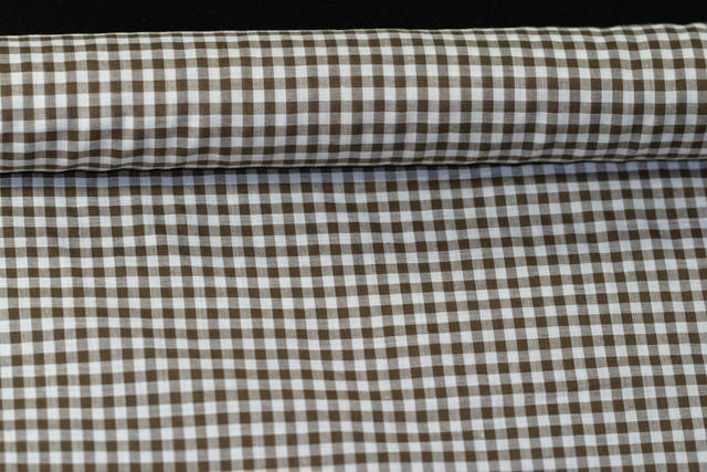 Gingham Poly/cotton 112cm Brown 4mm X 4.1 mts