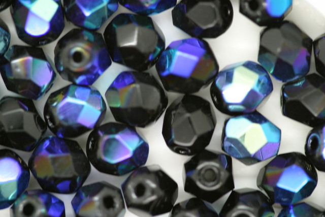 6mm Czech Fire Polished Facet Bead Black AB 10g
