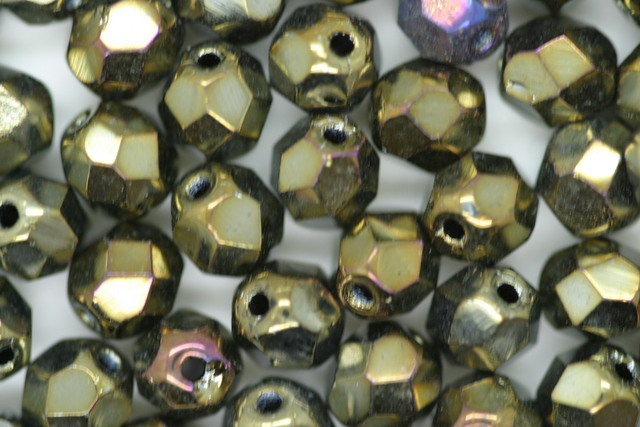 Czech Fire Polished Facet Bead 6mm Brown Iris