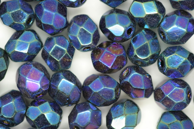 6mm Czech Fire Polished Facet Beads Blue Iris 10g