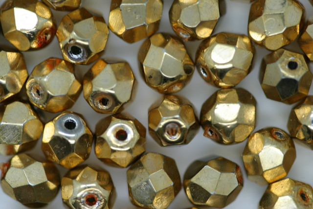 6mm Faceted Beads; Gold Bulk