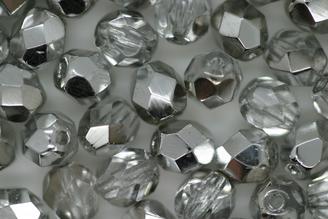 Czech Fire Polished Facet Bead 6mm Silver
