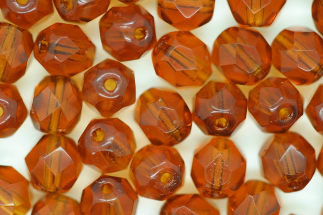 Czech Fire Polished Facet Bead 6mm Amber