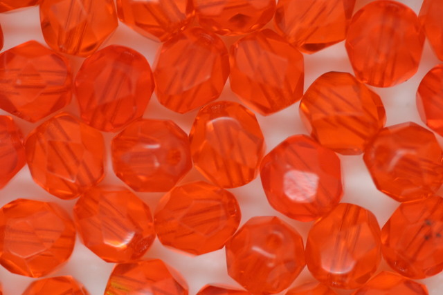 Czech Fire Polished Facet Bead 6mm Orange