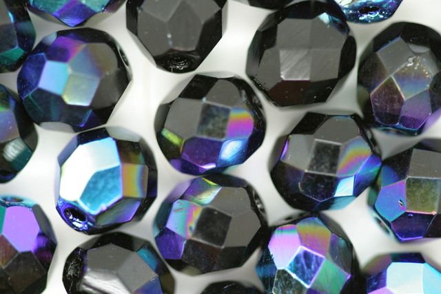 8mm Faceted Beads; Black AB 10 grams