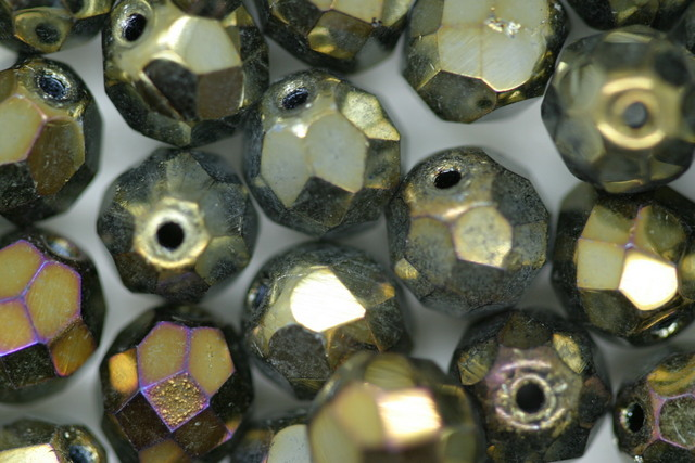 8mm Czech Fire Polished Facet Beads Brown Iris 10 grams